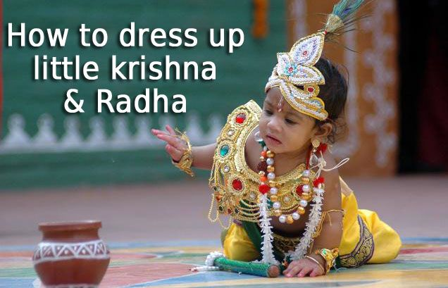how to Dress your Kids in Krishna Dress, Baby Radha Costume Janmashtami