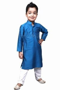 Boys Kurta Pyjama, Blue Kids ethnic kurta pajama