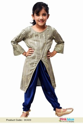 Raksha Bandhan Girls Ethnic Jacket Kurta and Dhoti Pant Set
