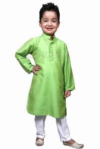Boys Kurta Pyjama, Green Kids ethnic kurta pajama