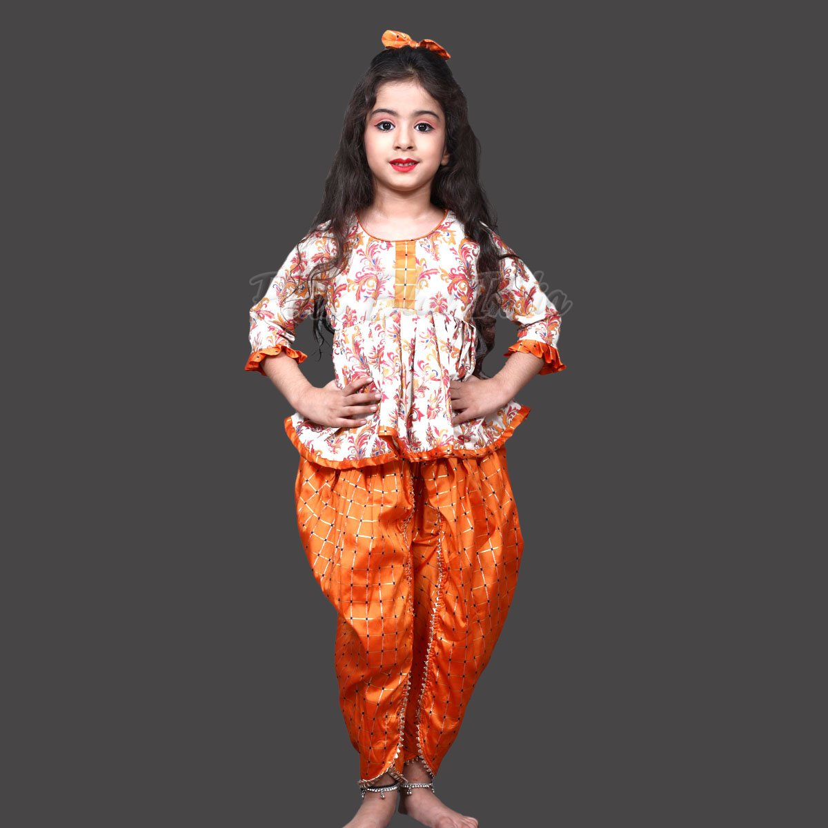 Girls Ethnic Peplum Top and Dhoti Pant - Kids Festival wear