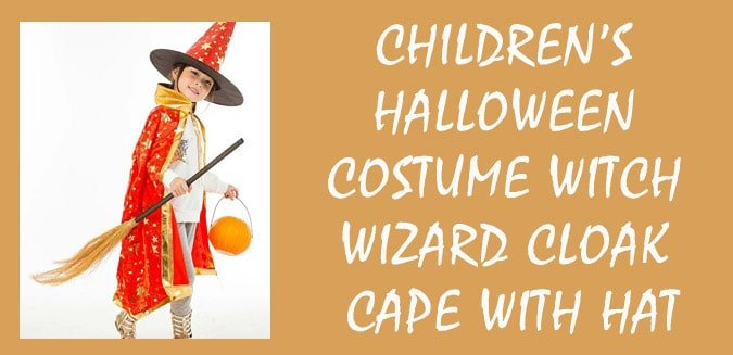 Childrens Halloween Girls Costume Witch Wizard Cloak Cape With Hat