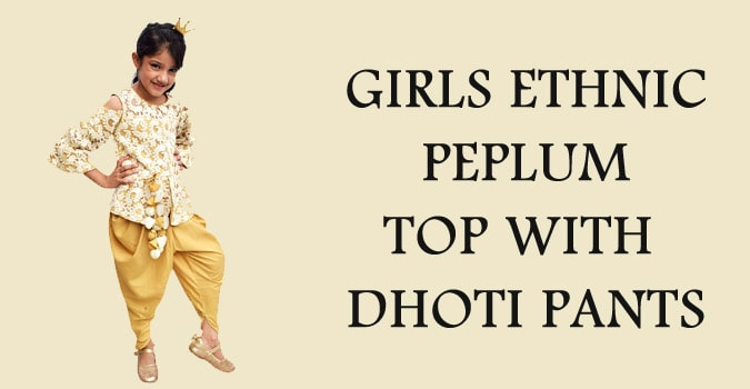 Diwali Girls Ethnic Peplum Top with Dhoti Pants