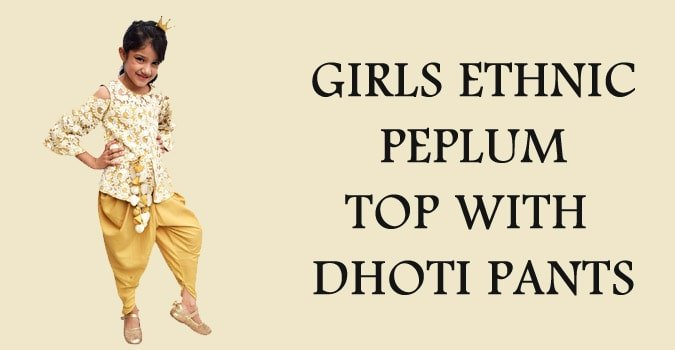 Diwali Girls Ethnic Peplum Top with Dhoti Pants