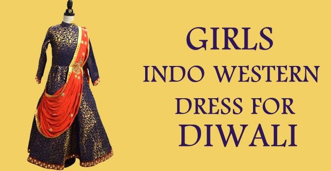 Girls Indo Western Dress for Diwali, Kids Gowns
