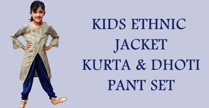 Kids Diwali Ethnic Jacket Kurta and Dhoti Pant Set