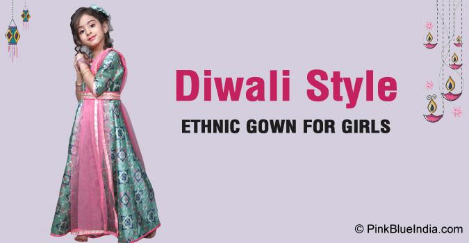 Diwali Baby Girl Frock Dress - Diwali kids Gowns