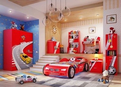 Cars with Racing Track Room design for boys