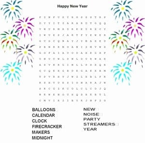 New Year Word Puzzle for kids