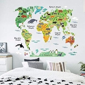 World Map Wall Sticker kids room