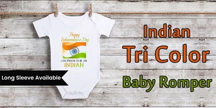 Indian Tri Color Baby Romper - Republic Day Newborn Bodysuit
