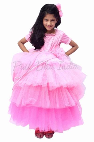 Dark Pink Designer Baby Frock