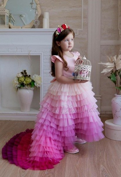 One-Shoulder Pink Party Dress for Girl