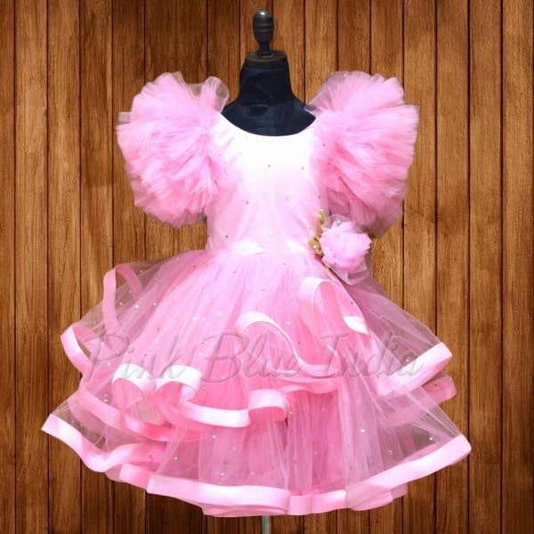 Party Wear Pink Dress for Kid Girl