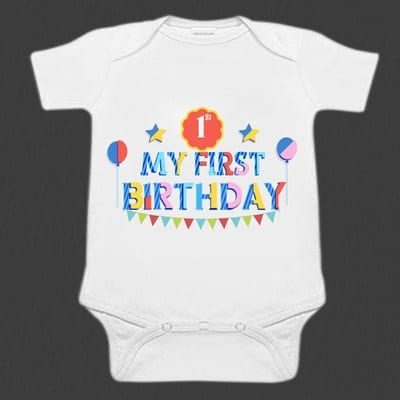 White 1st Birthday Baby Romper