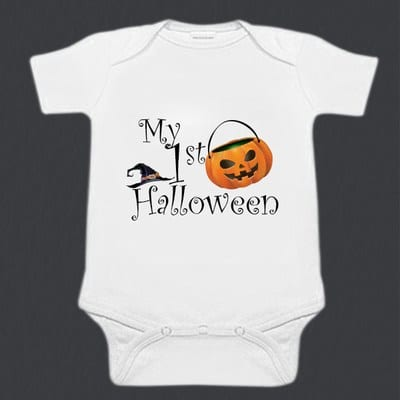 White Baby Boy or Girl First Halloween Romper