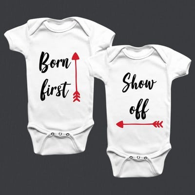 Personalized Twins White Baby Romper