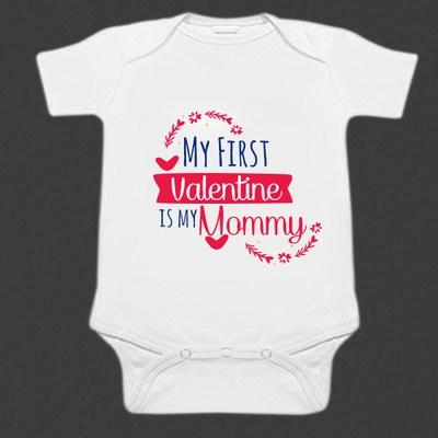 White Unisex Baby Valentines day Romper - Newborn Onesies