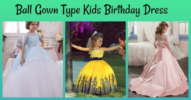Ball Gown Type Kids Birthday Dress