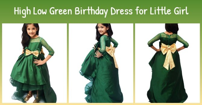 Birthday Dress for Little Girl - High Low Green Dress