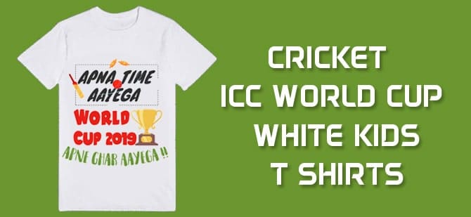 Cricket ICC World Cup 2019 White Kids T Shirts