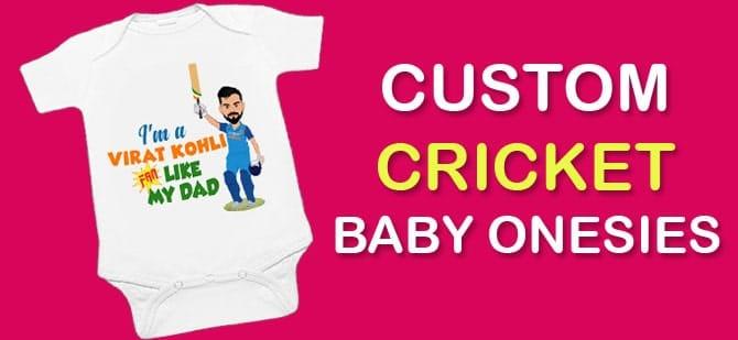 White Custom Cricket Baby Onesies, Newbron Romper