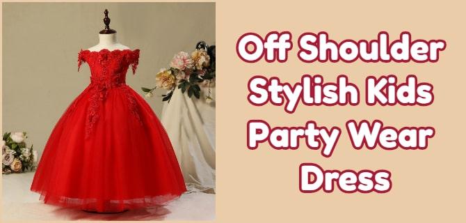 Off Shoulder Kids Party Wear Dress