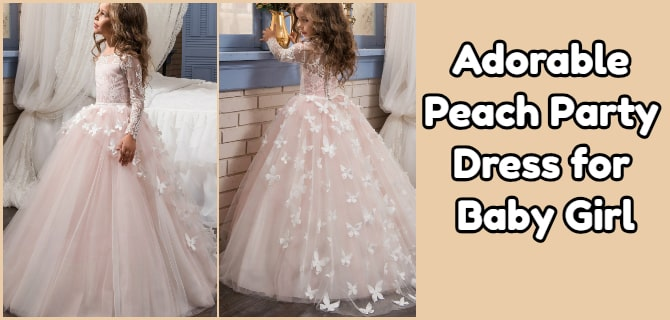 Peach Baby Girl Party Dress - Kids Long Gowns