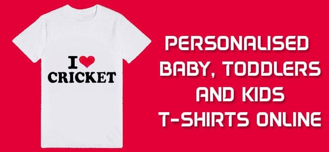 Personalised Cricket Baby and Kids T-shirts