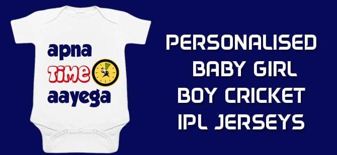 Personalised Baby Girl Boy Cricket IPL Jerseys, Romper