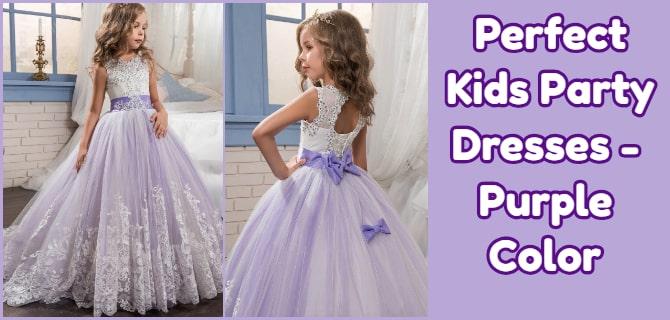 Kids Party Wear Dresses - Purple Color Princess Gown