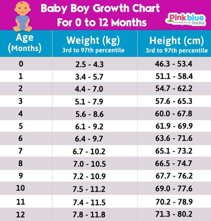 Indian Baby Boy Height and Weight Growth Chart