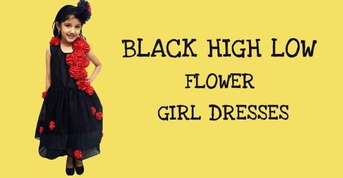 Black High Low Flower Girl Dresses