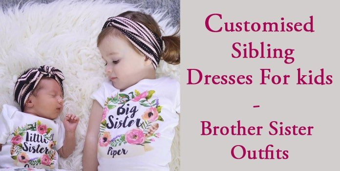Customised kids sibling dresses, Matching Brother Sister Outfits, Personalized Sibling Onesies