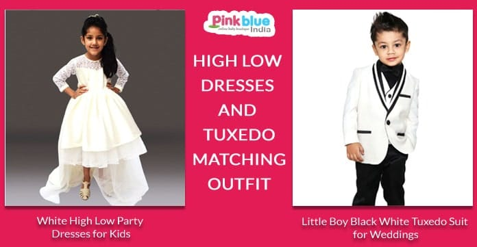 Girls High Low Dresses, Boys Tuxedo Suit Matching Outfit