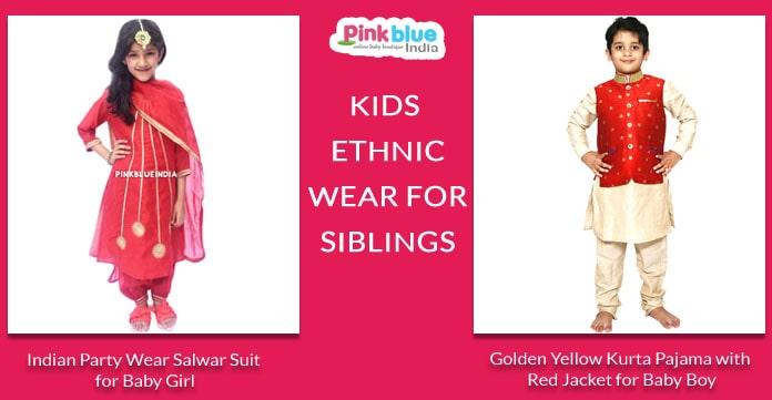 Kids Ethnic Wear for Siblings - Brother Sister Sibling Dresses