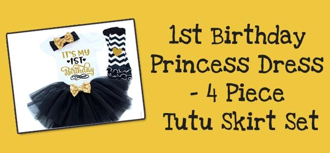 1st Birthday Princess Dress, 4 Piece Tutu Skirt Set