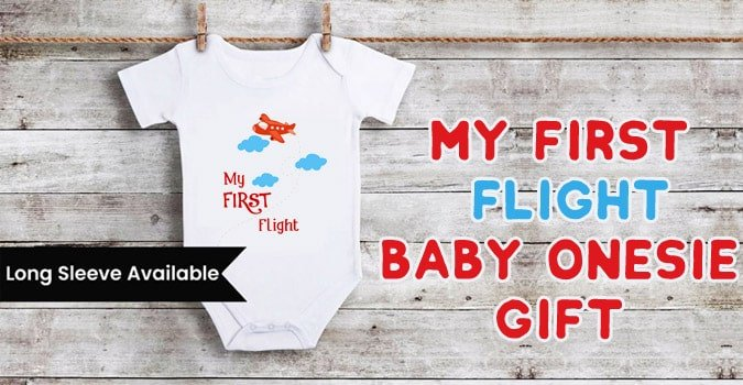 My First Flight Cute Funny Baby Onesie Gift