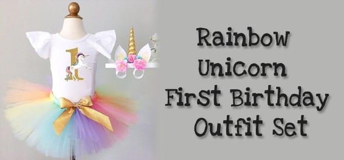 Rainbow Unicorn First Birthday Outfit Set