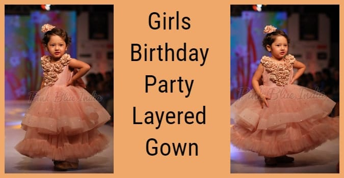 2 years Girls Birthday Party Layered Gown