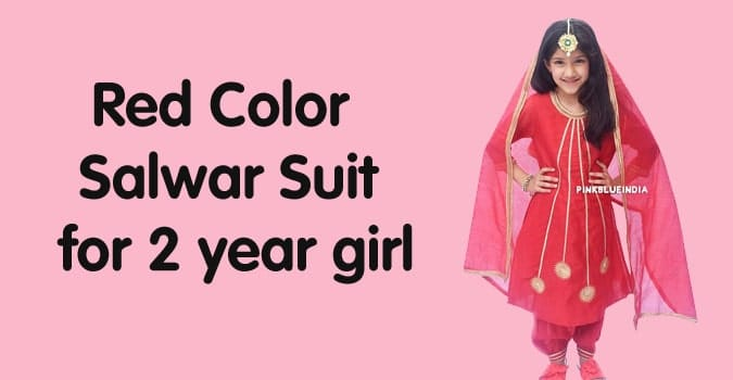 2 year Girls Red Color Salwar Suit