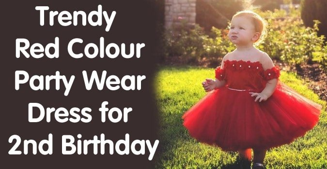 Red Colour 2nd Birthday Party Dress