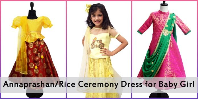 Baby Girl Annaprashan Dress - Rice ceremony Dress India