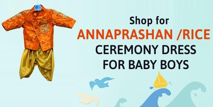 Newborn Baby Boy Annaprashan Dress - Rice ceremony Dress India