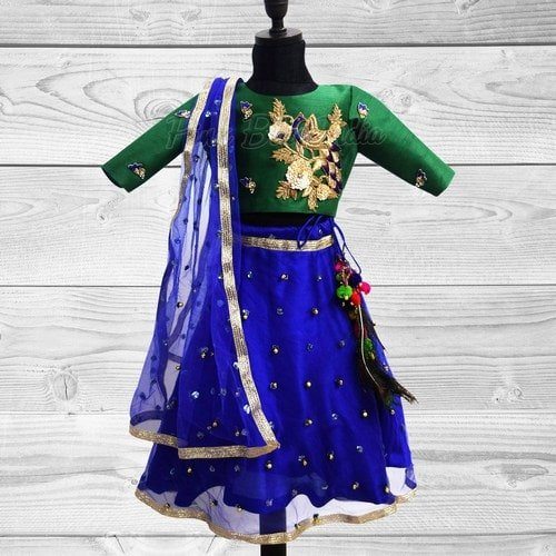 Peacock Pattu Pavadai Lehenga Choli for Girls