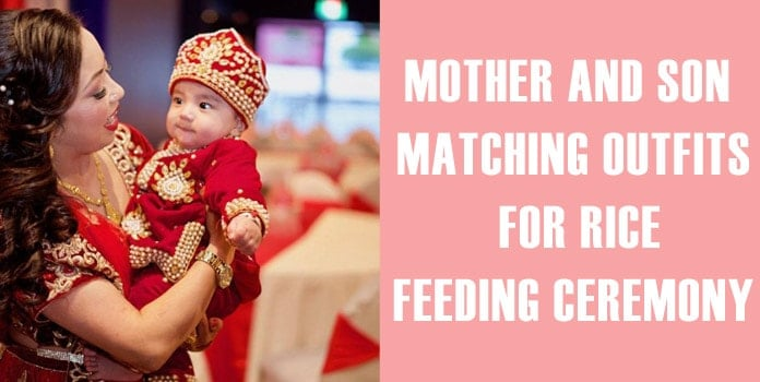 Rice Feeding Ceremony Mother Son Matching Outfits