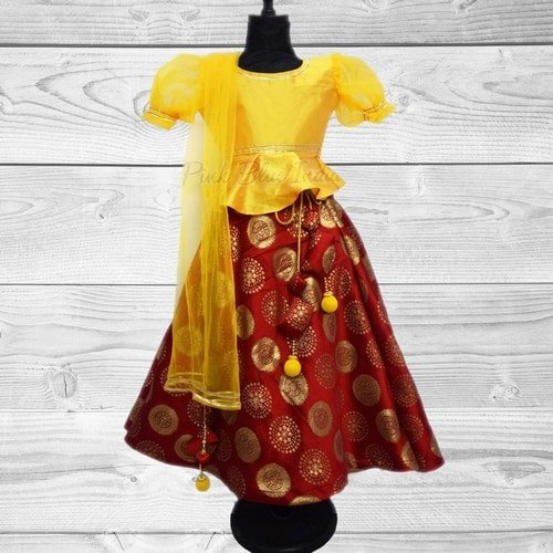 Kids Pattu Pavadai Lehenga Choli Ethnic Wear