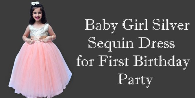 Baby Girl Silver Sequin Dress - First Birthday Party Dress