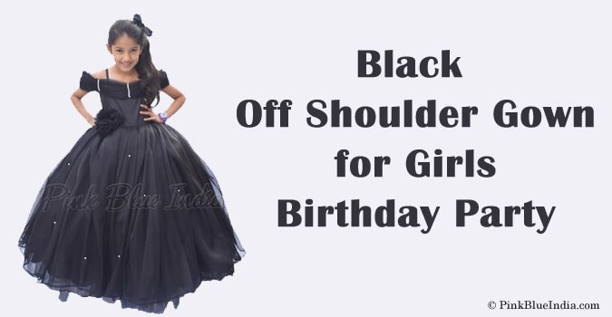 Girls Birthday Party Off Shoulder Gown - Baby Black Dress