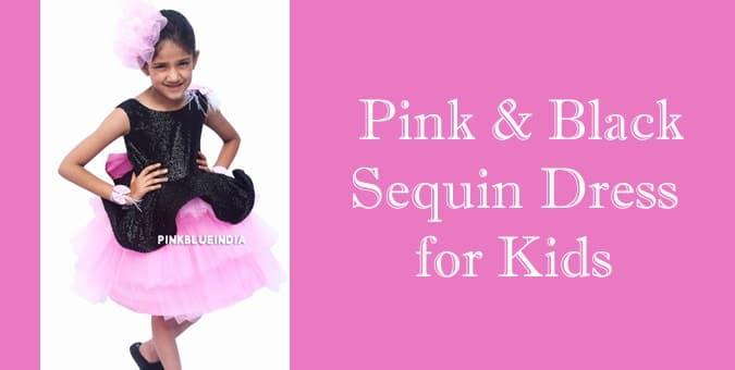 Pink & Black Sequin Dress for Kids
